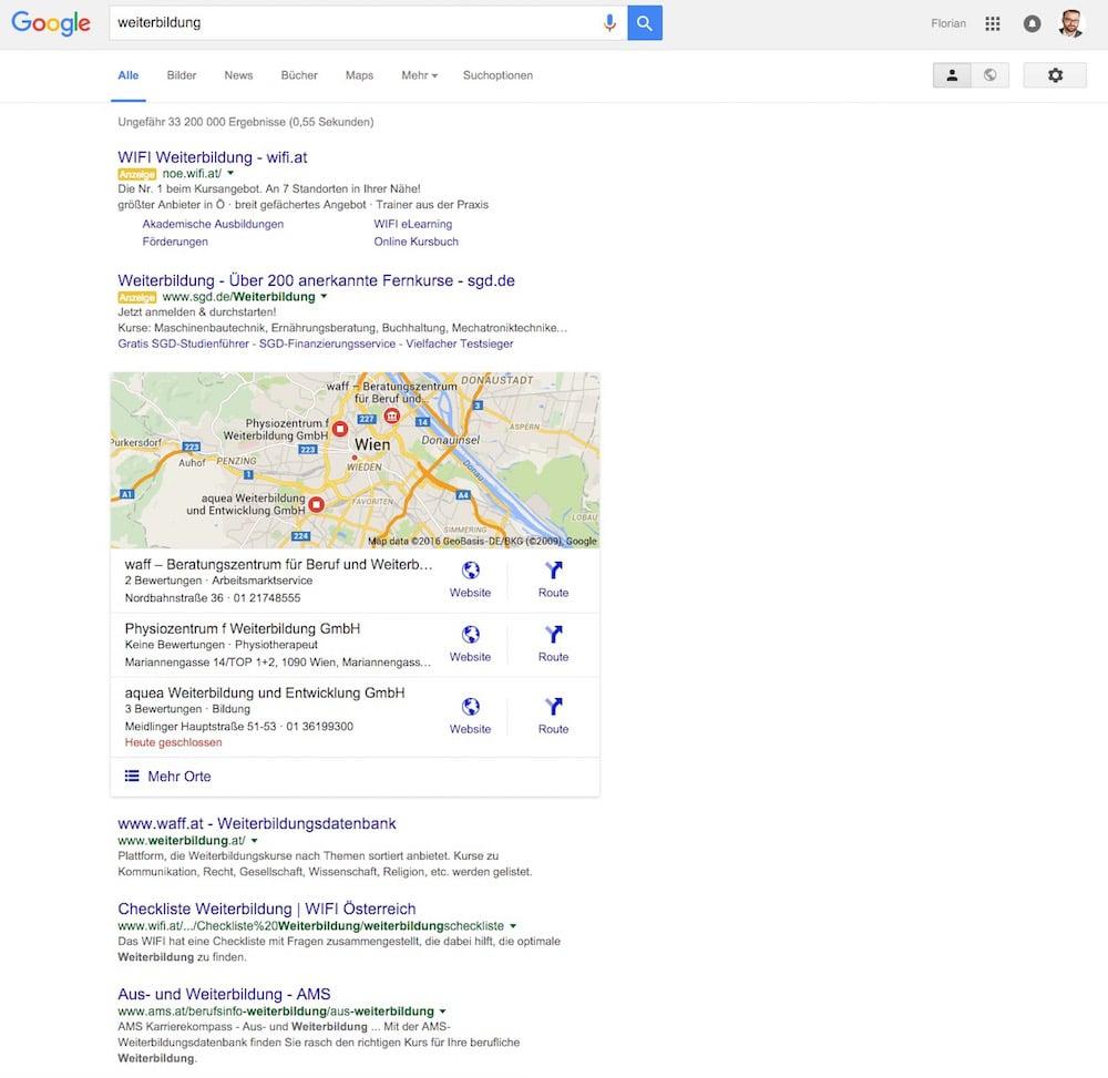google-serp-weiterbildung-eingeloggt
