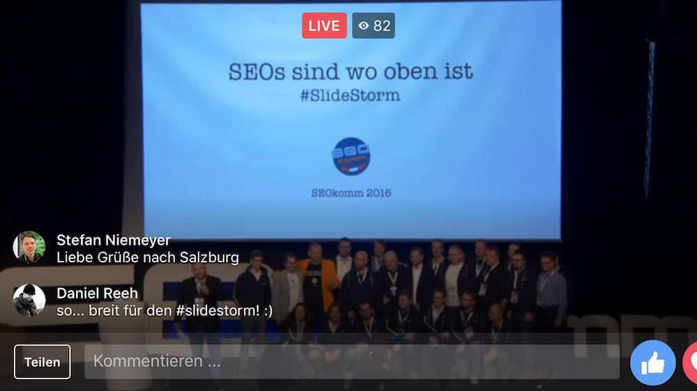 Erster Facebook Live Stream der Keynote von Marcus Tandler - SEOs sind wo oben ist